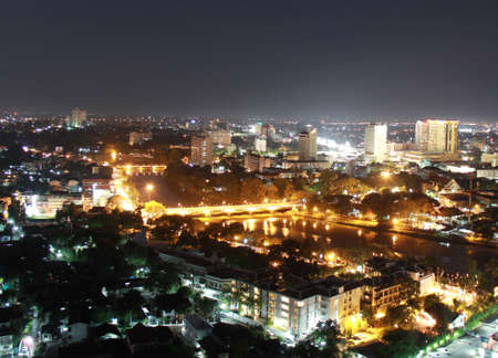 landscape of night in Chiang Mai Thailand photo