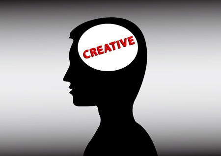 human with a creative head