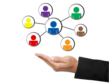 business hand with social network Stok Fotoğraf