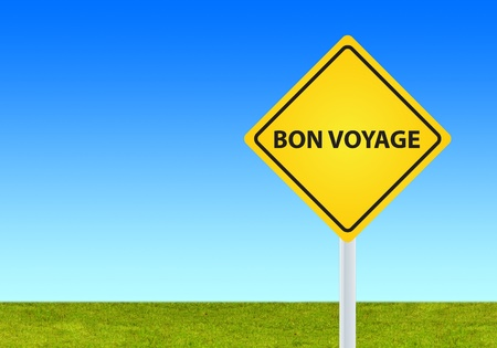 background of yellow bon voyage sign photo