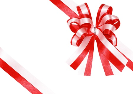 red ribbon on a present box 写真素材