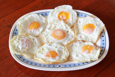 fried eggs on a plate photo