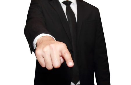 isolated young business man pointing Stock Photo - 14447872
