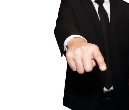 isolated young business man pointing 2 photo