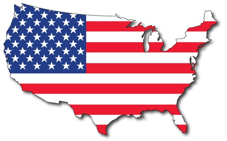 isolated us map with the flag inside