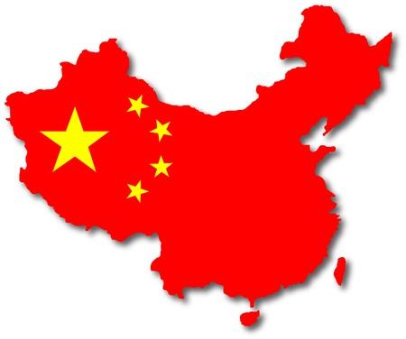 sur: aislado China mapa con el interior de falg Foto de archivo