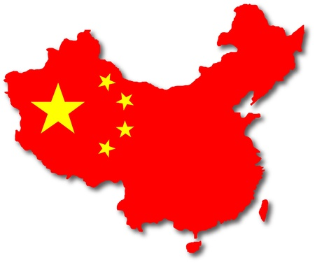 china flag: isolated china map with the falg inside