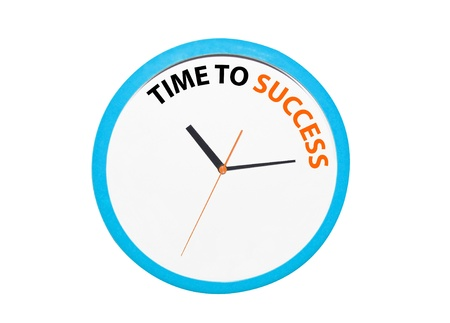 isolated time to success on the blue clock photo