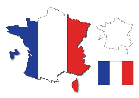 france map with a flag inside Stock Photo - 14598953