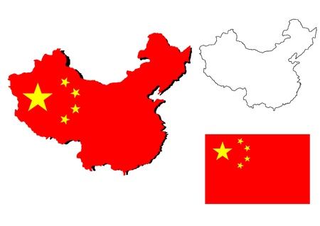 isolated china map with the falg inside Stock Photo - 14643614