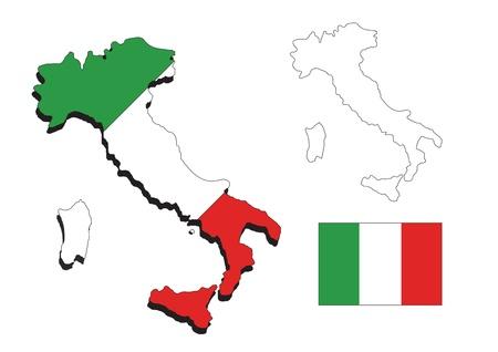 Italia mapa con bandera de Italia