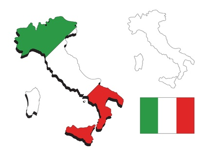 italy map: italy map with italy flag