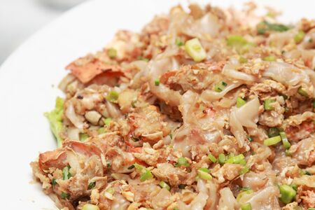 Stir fried fresh rice flour noodles with chicken lobster and egg Stock Photo - 14791437