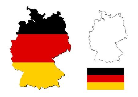 deutschland karte: Deutschland-Karte mit Flagge Deutsch