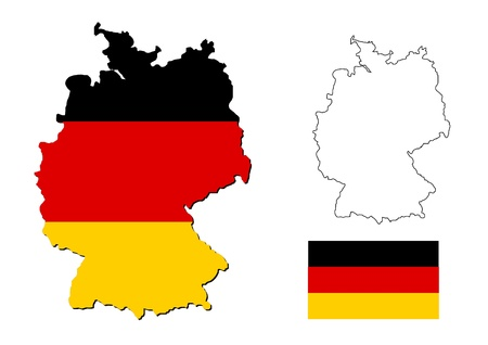german flag: germany map with german flag Stock Photo