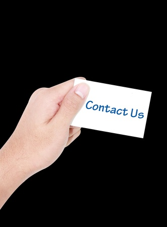 isolated hand holding white contact us business card photo