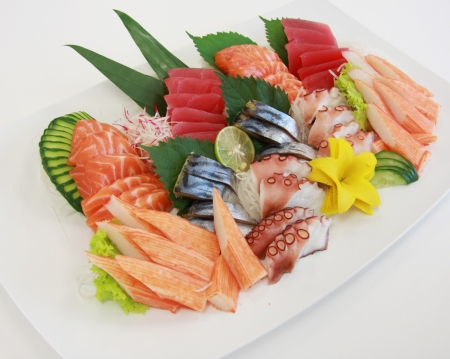 fresh sashimi on the plate