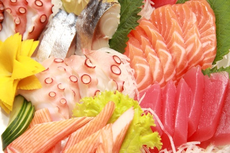 various kind of fresh raw sashimi photo