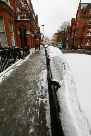 london street in winter season cover with snow photo