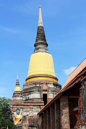 stupa in wat yai chaimngkol in ayutthaya photo