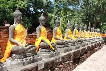 ayuthaya: buddha statue in wat yai chaimongkol  ayuthaya