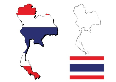 isolated thailand map with  thai flag