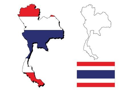 thai: isolated thailand map with  thai flag