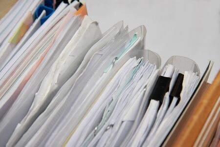 background of heap of paper in office photo