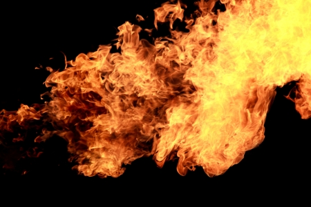 gas fire: fire burining in black background