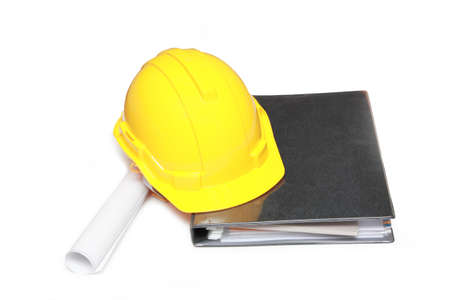 isolated yellow hard hat with a document photo