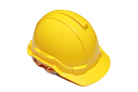 isolated engineer yellow hard hat Standard-Bild