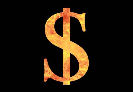 us dollar sign in fire photo
