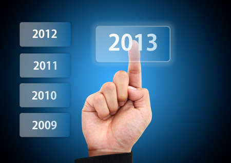business hand press 2013 button Stock Photo - 16579085