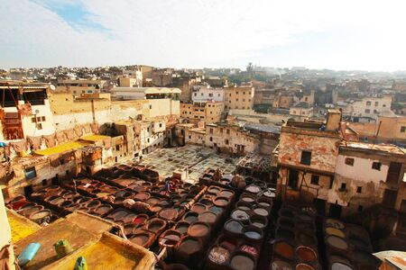 fes: the tanneries of fes morocco Stock Photo