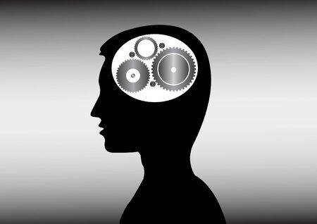 thinking human head with gear inside Stock Photo - 17036579