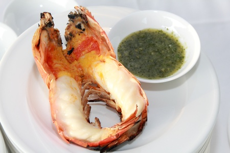 grill giant fresh water prawn photo