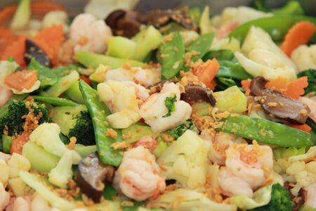 stir fried mixed vegetables with shrimps photo