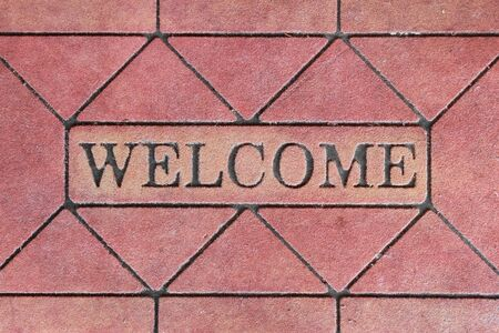 background of welcome sign mat photo