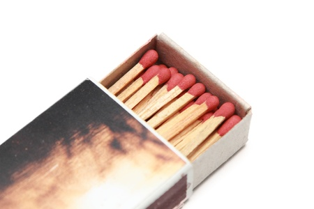 isolated matchstick in a matchbox photo