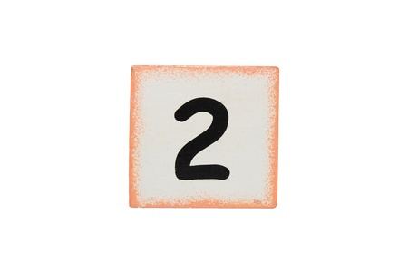 isolated wooden cubic with number two photo