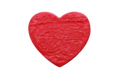 isolated red heart shape cookie in white background Stock Photo - 17689065