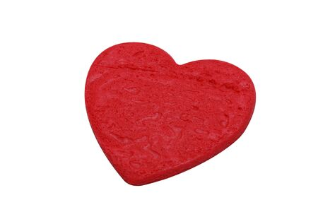 isolated red heart shape cookie in white background photo