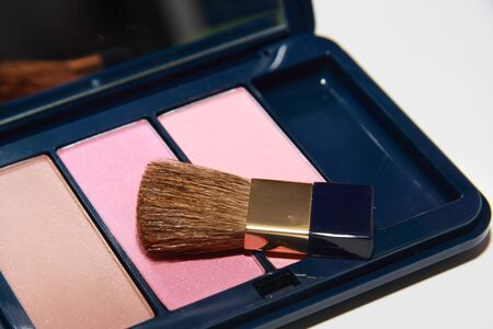 isolated cosmetic powder with a brush photo