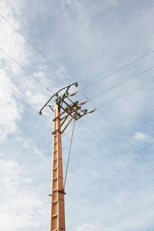 electric pole in a clear sky background photo