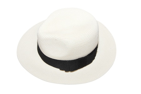 isolated woman white beach hat photo