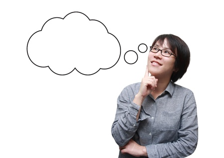 isolated asian woman thinking with a bubble box Stock Photo - 18600533