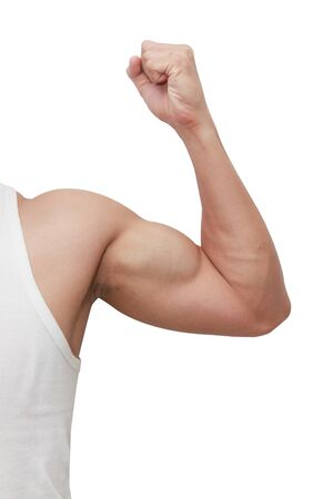 isolated  man showing muscle photo