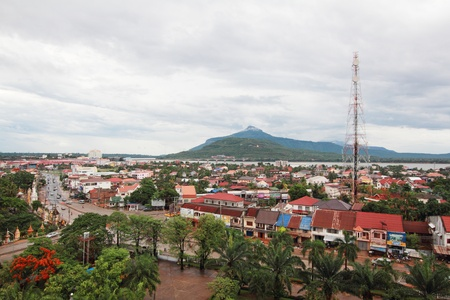 cityscape of pakse in champasak province laos
