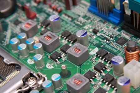 closeup of electronic circuit board in computer Stock Photo