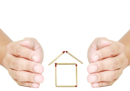 isolated two hand protect house